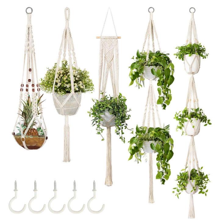 5 hanging macrame planters