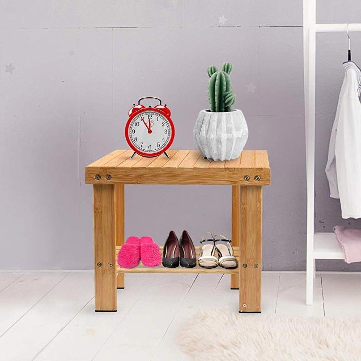 bamboo storage step stool chair
