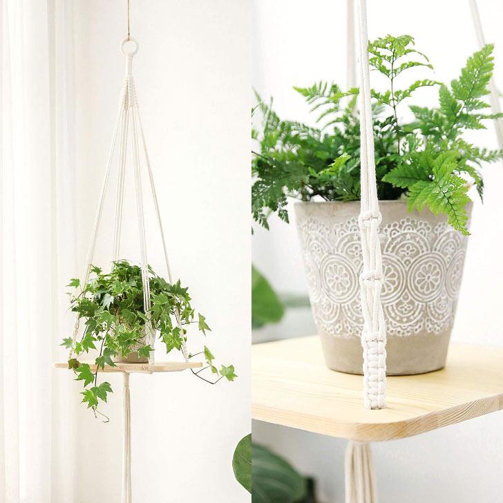 hanging macrame shelf planter