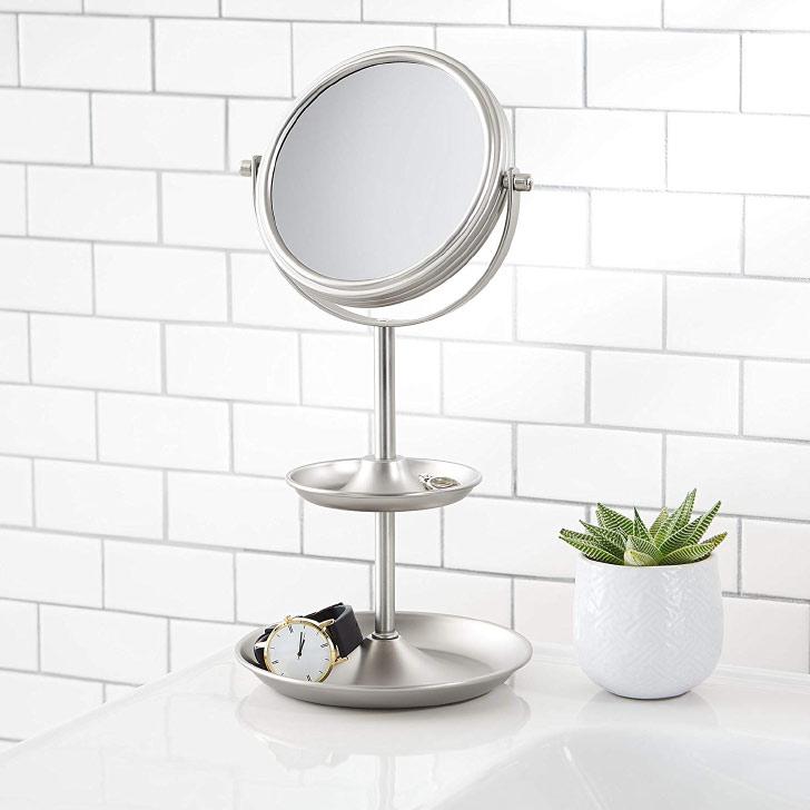 makeup mirror with jewelry storage