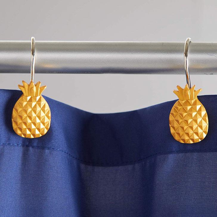 pineapple shower curtain hooks