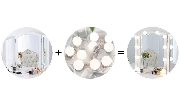 DIY vanity bathroom mirror lights