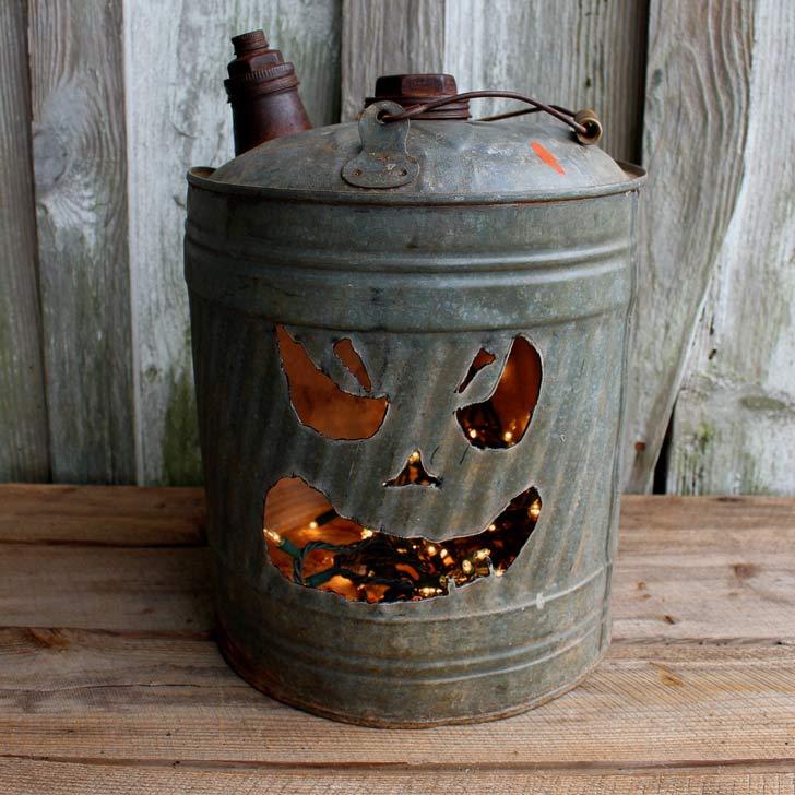 vintage gas can jack o lantern