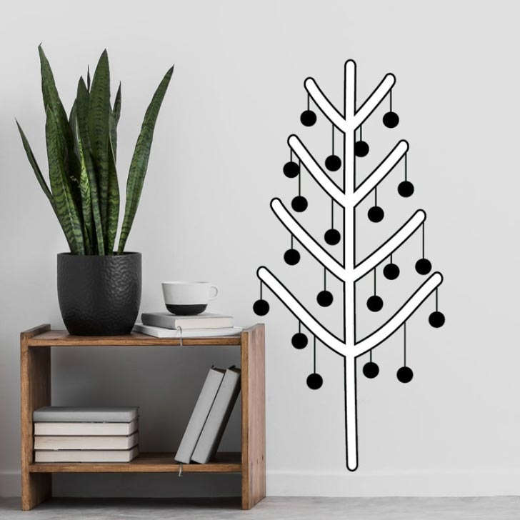 christmas tree alternative wall scandinavian decal