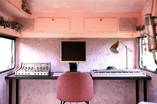 caravan transformed into a music studio