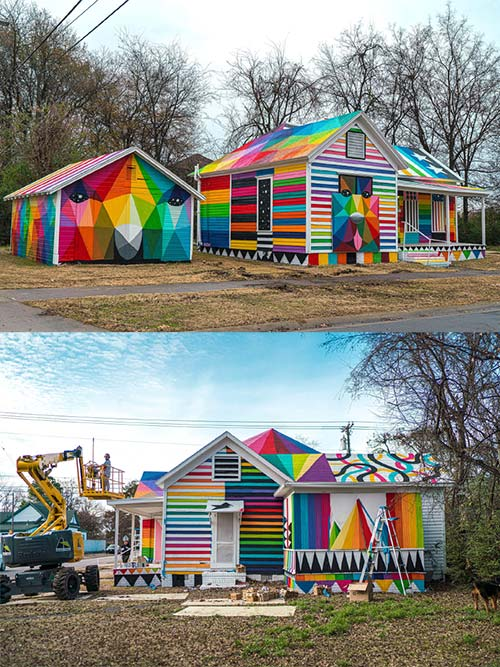 abandoned house turned into a colorful piece of art