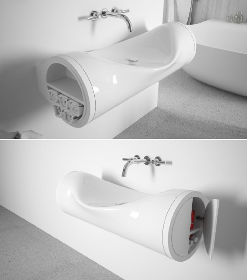 hollow sink with storage
