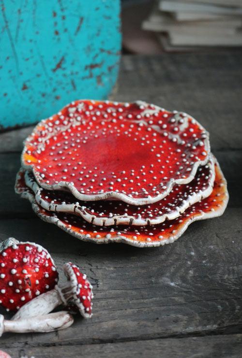 mushroom saucer plates