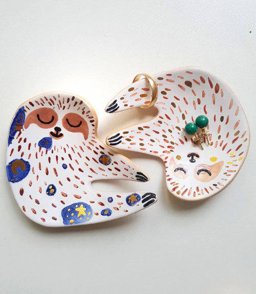sloth jewelry dishes