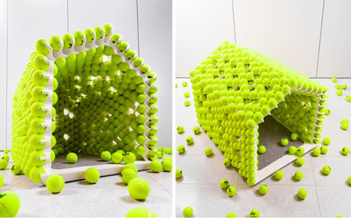fetch tennis ball dog house