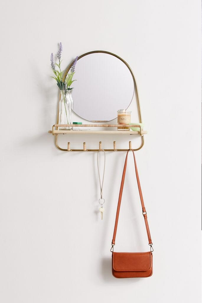 multi-hook wall shelf mirror