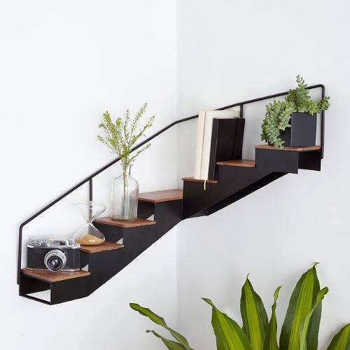staircase corner shelf