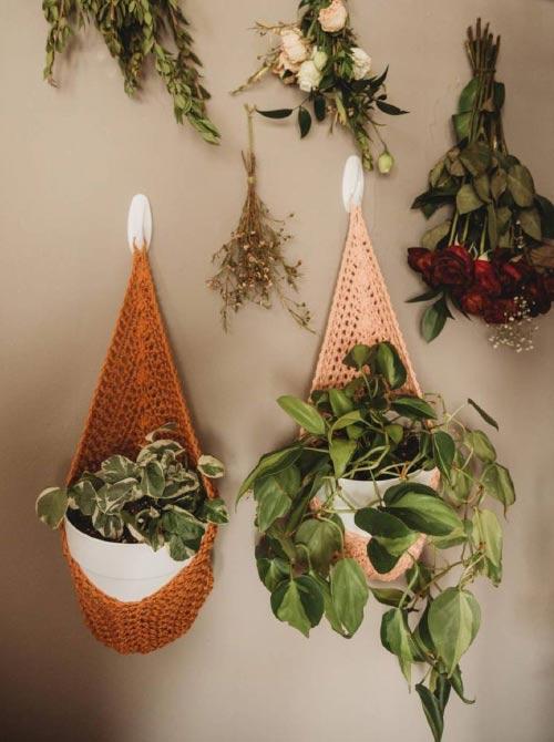 hanging macrame planters