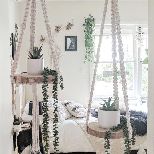hanging wooden macrame planters for indoor garden