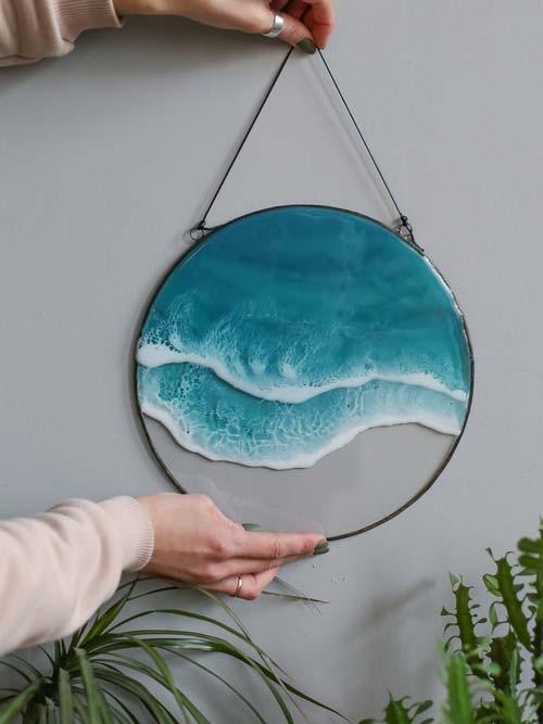 resin sea wave wall art