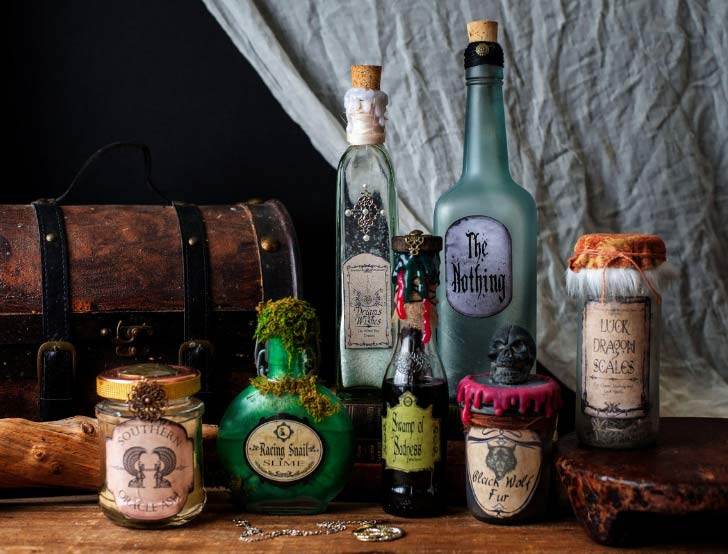 decorate halloween with magic potion bottles