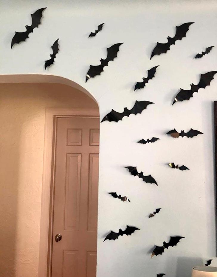 group of vinyl bats surrounding a door arch