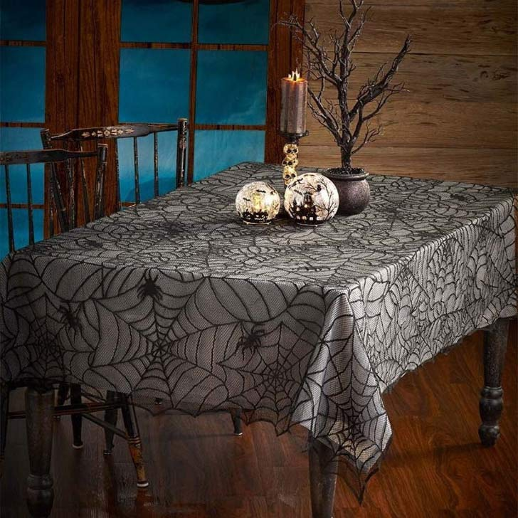 halloween decoration ideas with spider web tablecloth
