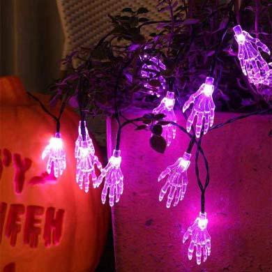 solar-powered skeleton hand lights