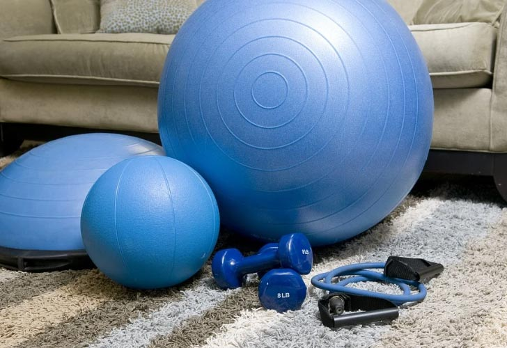 a set of equipment for working out at home