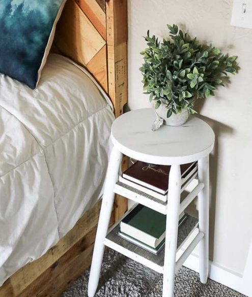 DIY bar stool bedside table