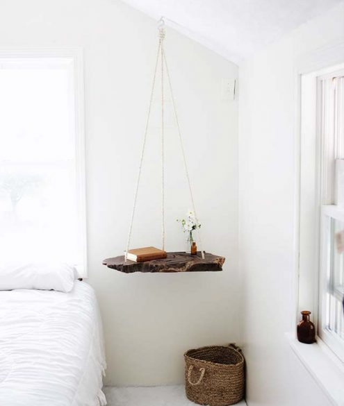 DIY hanging nightstand alternative