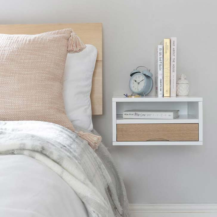 boho wall-mounted nightstand