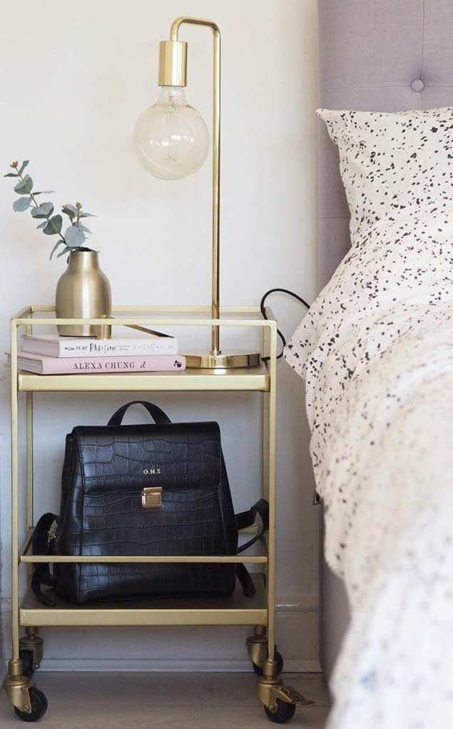 rolling cart bedside table
