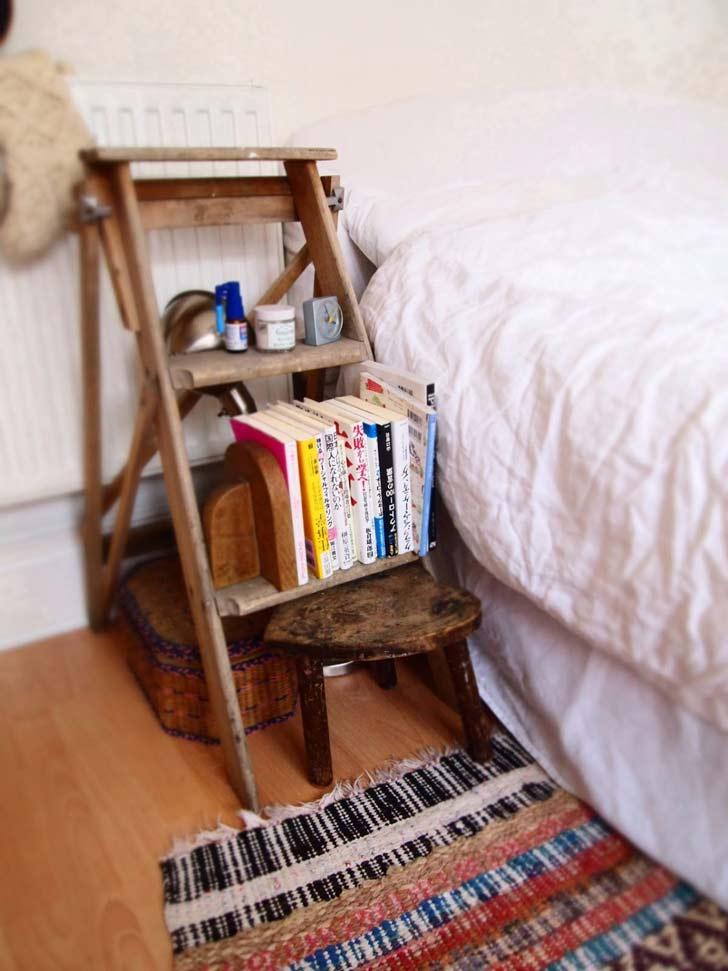 rustic bedside ladder