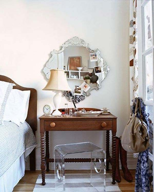 shabby chic vanity by the bed
