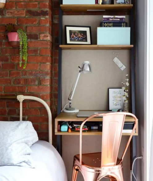 using a desk as a nightstand alternative