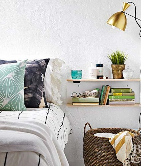 wall-mounted bedside shelf