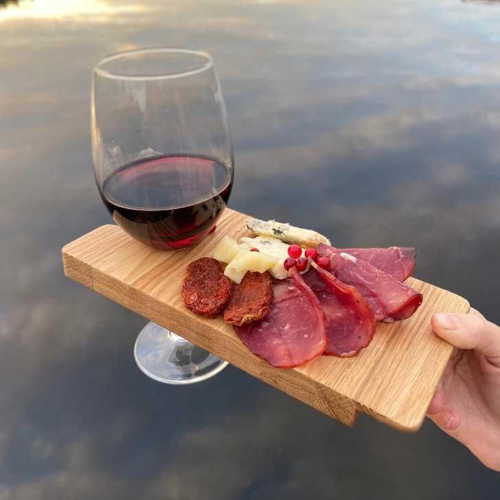 wine glass holder cheese board
