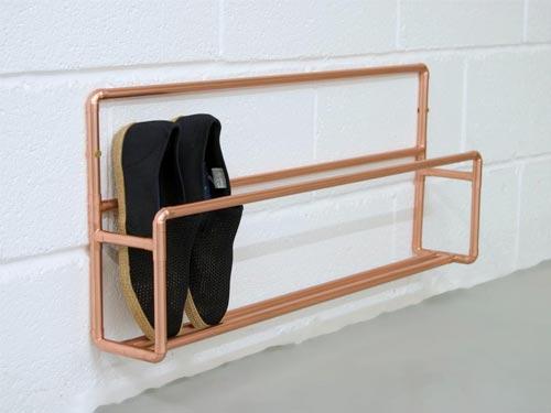 copper narrow shoe rack