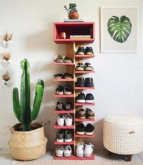 diy shoe storage tower