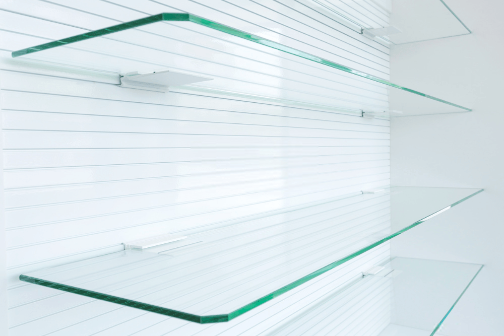 floating glass shelving