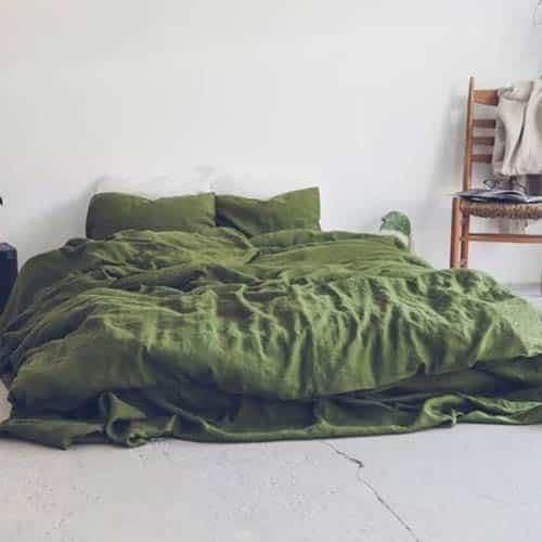 moss green cotton duvet set