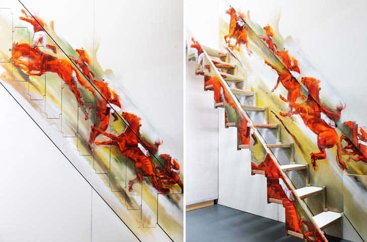 klapster folding staircase with horses