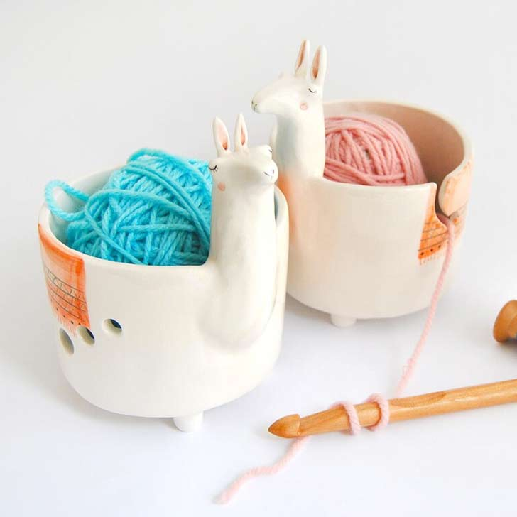 ceramic llama yarn bowl